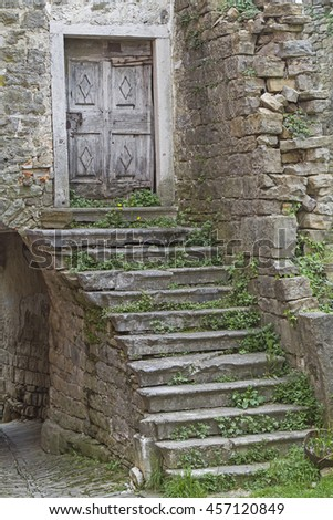 Impressions and details from the small Istrian village Oprtalj - stock photo