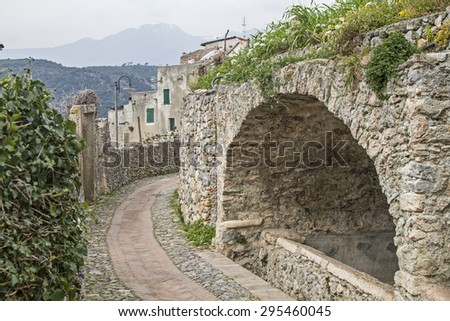 Impressions from the Piazza probably most remarkable part of the municipality Borgio Verezzi - stock photo