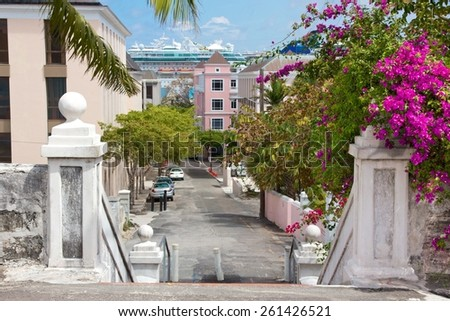 Impressions from the streets of Nassau, Bahamas. - stock photo