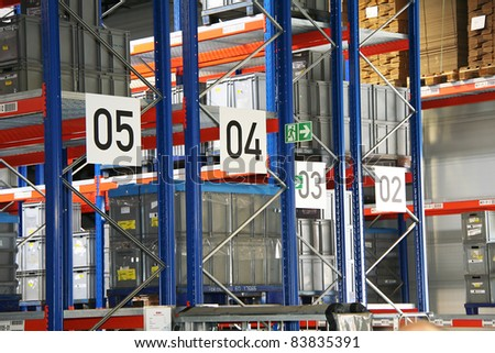 Impressions of a big industrial warehouse with goods - stock photo