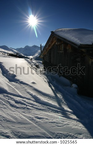 Impressions of snow and mountains, skiing/snowboarding related imagery. Taken in Davos, Switzerland. - stock photo
