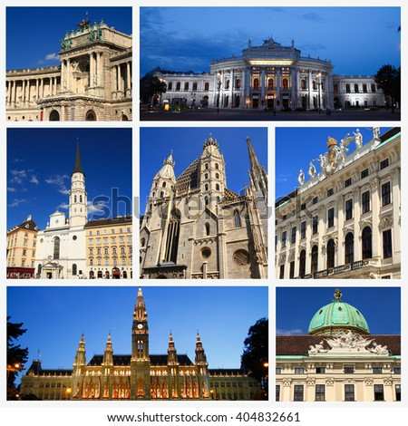 Impressions of Vienna, Collage of Travel Images - stock photo