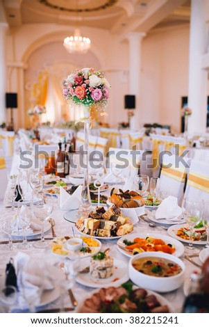 impressive and beautiful wedding flowers and decor in red color - stock photo