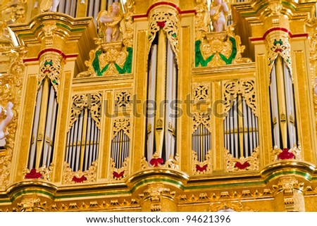Impressive and magnificent church musical instrument - stock photo