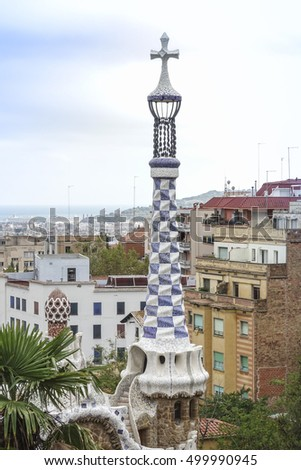 Impressive architecture and mosaic art at Park Guell in Barcelona - BARCELONA / SPAIN - OCTOBER 5, 2016