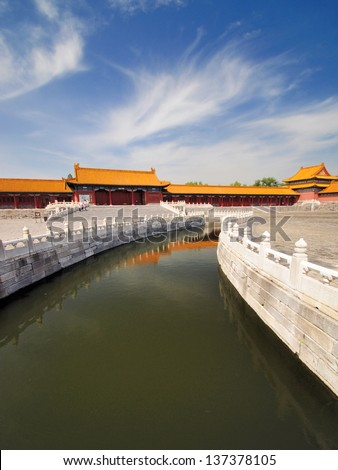 Impressive chinese architecture. Forbidden city in Beijing, China - stock photo