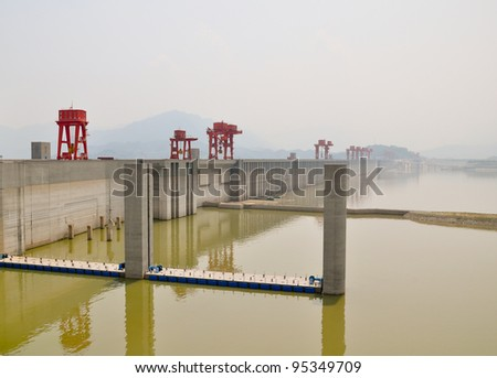 impressive construction site of the three gorges dam in china - stock photo