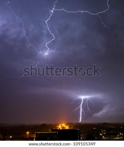 Impressive lightning above the night sky - stock photo