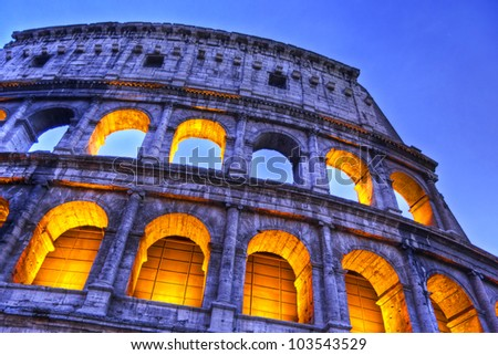 Impressive night  view of the Colosseum, Rome, Lazio, Italy - stock photo
