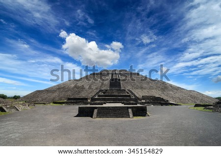 Impressive Pyramid of the Sun in Teotihuacan - stock photo