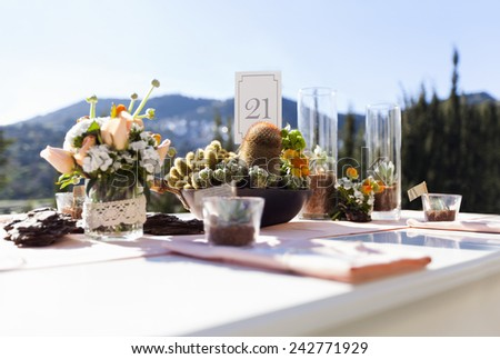Impressive wedding table with cactus and flowers - stock photo