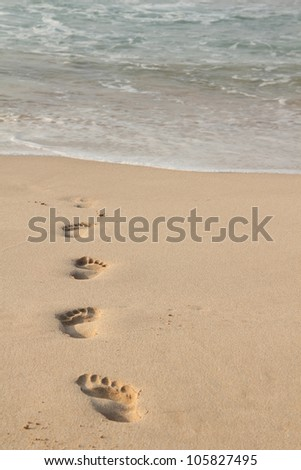 Imprint of footsteps on sandy beach leading into the water