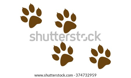 Imprint of the paw prints of the animal. Web icon, color paw dog. Paw print pet. Print on white background.  - stock photo