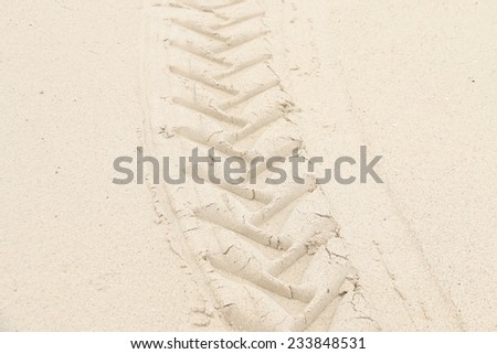 imprint on the sand - stock photo