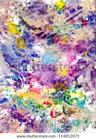 Imprints, Abstract painted canvas as multicolor background - stock photo