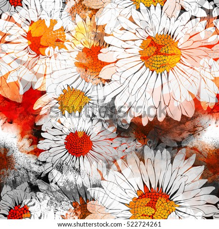Imprints Flower Like Daisy Hand Painted Seamless Pattern Digital Drawing And Watercolor Texture