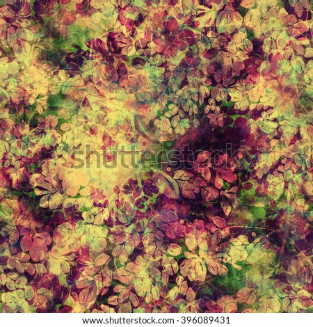 Imprints of blooming meadow grass - seamless pattern - digital and watercolor mixed media fashionable artwork for textiles, fabrics, souvenirs, packaging, greeting cards and scrapbooking - stock photo