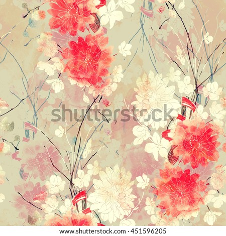 imprints sakura and chrysanthemum. hand painted seamless pattern. digital drawing and watercolor texture. background for textile decor and design. botanical wallpaper. mixed media. floral frame