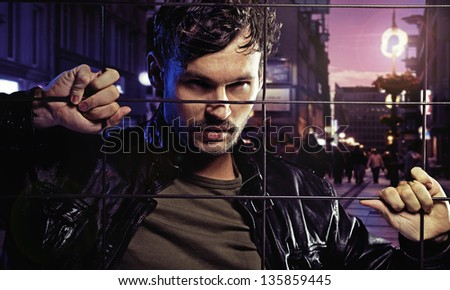 Imprison man - stock photo