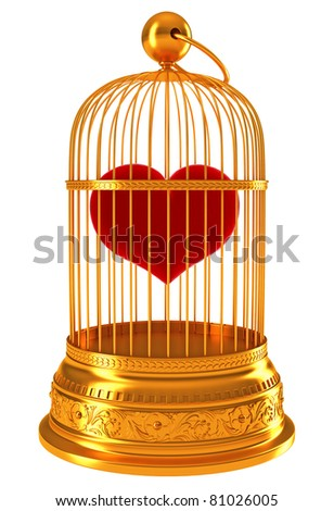Imprisoned love: red heart in golden cage isolated on white
