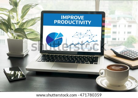 IMPROVE PRODUCTIVITY Computing Computer  Laptop with screen on table