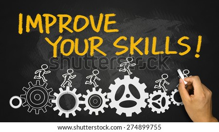 improve your skills concept hand drawing on blackboard - stock photo