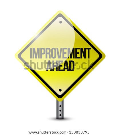 improvement ahead road sign illustration design over a white background - stock photo