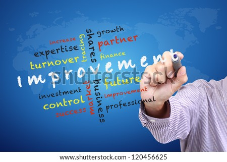 Improvement concept ideas and other related words, Hand with pen write on whiteboard - stock photo