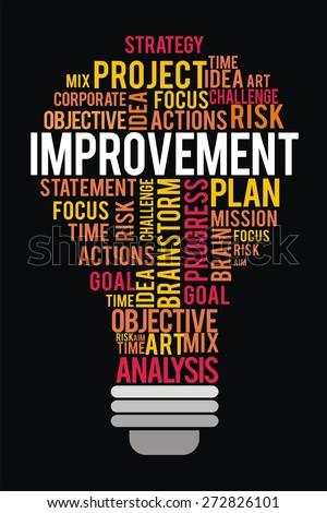 improvement word in lightbulb shape concept - stock photo