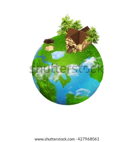 improvised globe with green continents. eco-friendly housing