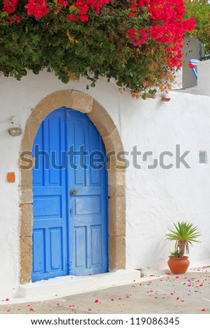 in a beautiful village on the island of Rhodes, Greece - stock photo