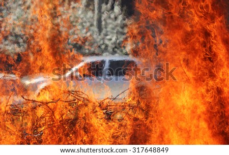 In a big flame burning car - stock photo