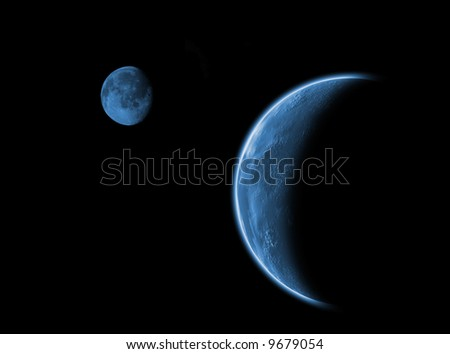 In a dark place, concept for emotions and exploration with moon and earth Background with plenty of space for text - stock photo