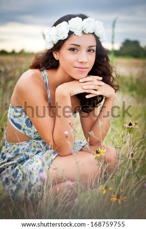 In a field of flowers - stock photo