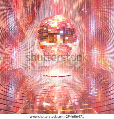 In a glittering mirror ball 3d rendering background. - stock photo