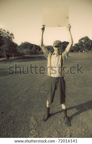 In A Notice And Memorandum Of Vintage Golfing A Old Fashioned Golf Gentleman Holds Up A Sign Above His Head Showcasing A Sport Letter Of Goodwill