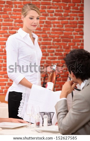 in a restaurant - stock photo