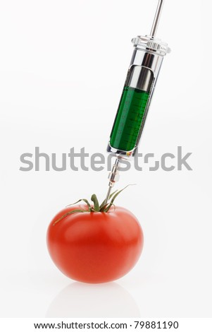 In a tomato, a green liquid is sprayed. Symbolic photo for genetic tomatoes. - stock photo