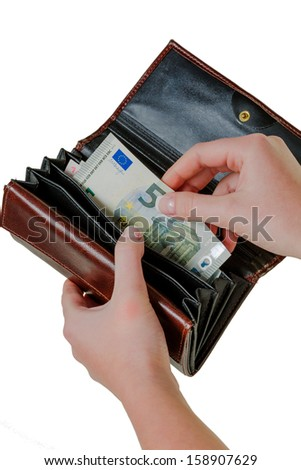 in a wallet, there are some euro banknotes. money is scarce, the new poverty. - stock photo