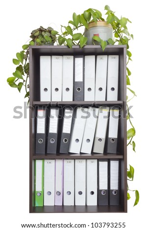 In a wooden office cabinet is  a lot of folders with old  paper mattered accounting files. Indoor plants in pots are in the closet. Isolated - stock photo