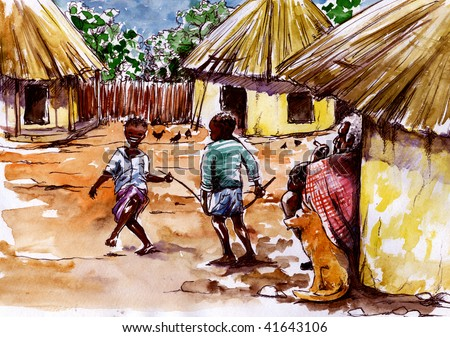 In African village two boys play. Old man sitting and watching.Picture I have created myself with watercolors. - stock photo
