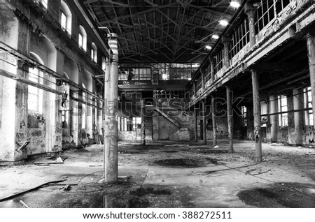 in an old teared of broken abandoned factory