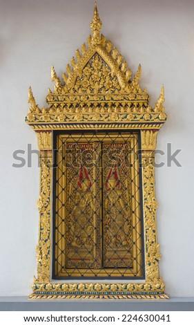 in Bangkok the Wat Pho windows - stock photo