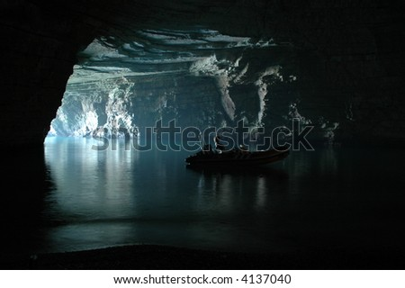 in bote and cave in italy