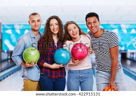 In bowling club with friends - stock photo