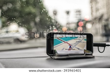 In Car Gps Navigation System. - stock photo