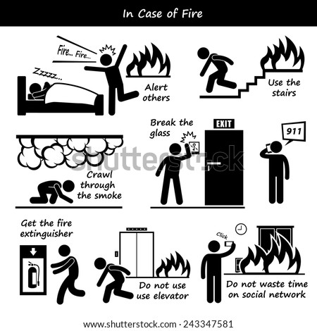 In Case of Fire Emergency Plan Stick Figure Pictogram Icons - stock photo