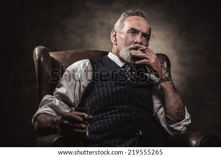 Middle Aged Man In Drinking Whisky Cartoon Picture