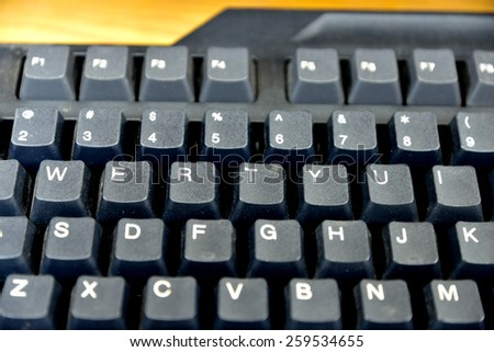 In computing, a keyboard is a typewriter-style device, which uses an arrangement of buttons or keys, to act as mechanical levers or electronic switches. - stock photo