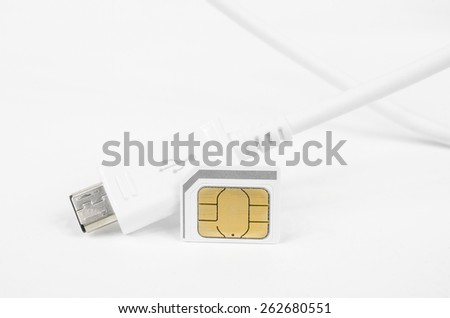 in connection (micro SIM, USB plug) - stock photo